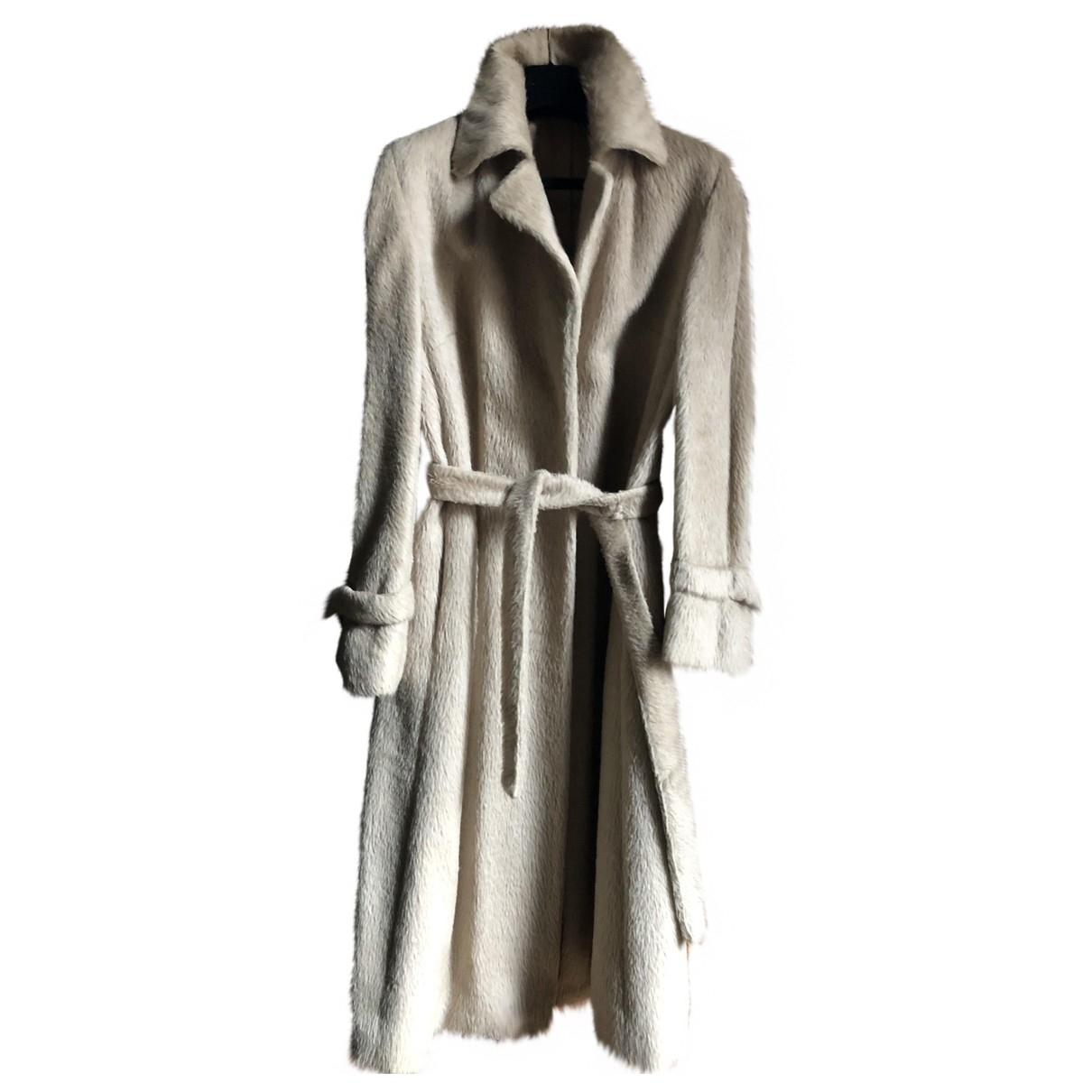 Agnona - Manteau   pour femme en laine - ecru