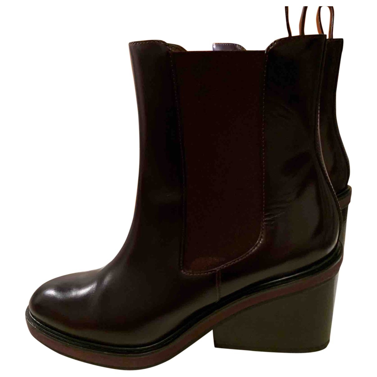 Hermès \N Burgundy Leather Ankle boots for Women 40 EU