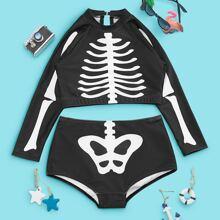 Bikini Badeanzug mit Halloween Skelett Muster