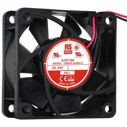 RS PRO , 24 V dc, DC Axial Fan, 60 x 60 x 25mm, 40.8m³/h, 3.5W