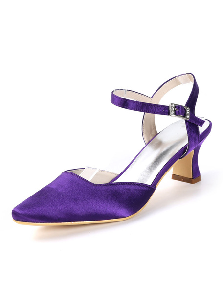 Milanoo Mother Of The Bride Shoes Dark Navy Pointed Toe Buckle Detail Kitten Heel Wedding Guest Shoes