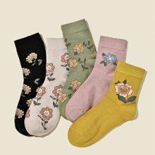 5pairs Flower Pattern Ankle Socks