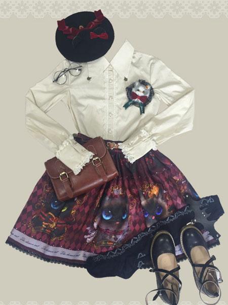 Milanoo Blusa de lolita de algodon mezclado de cuello vuelto con manga larga Color liso Detalles metalicos gotica