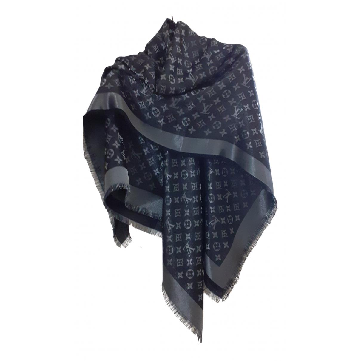 Louis Vuitton Châle Monogram Black Silk scarf for Women N