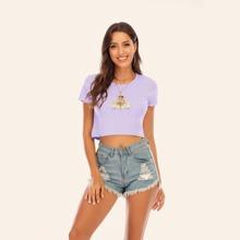 T-Shirt mit Engel Muster und gekraeuseltem Saum