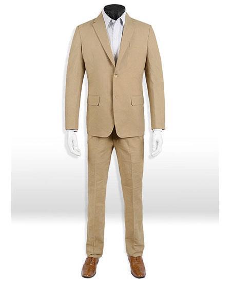 Dark Tan Linen ~ Taupe ~ Khaki Suit