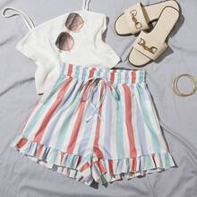 Tie Waist Ruffle Hem Striped Shorts