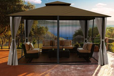 Kingsbury GZ584SK2 11' x 14' Gazebo with Cocoa Sunbrella Top and Privacy Curtains and Mosquito