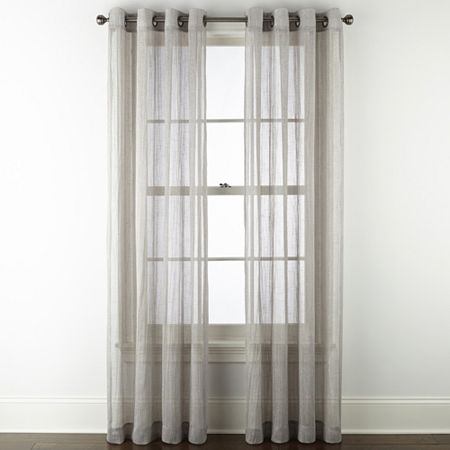 Regal Home Glimmer Metallic Sheer Grommet-Top Single Curtain Panel, One Size , Gray