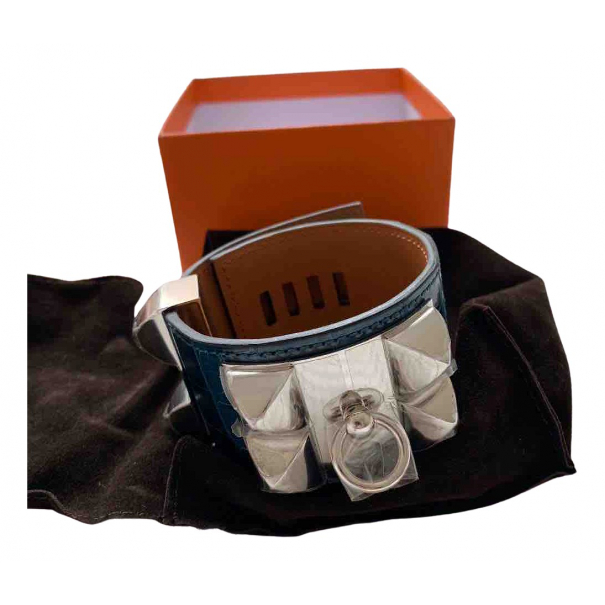 Hermes - Bracelet Collier de chien  pour femme en crocodile - bleu