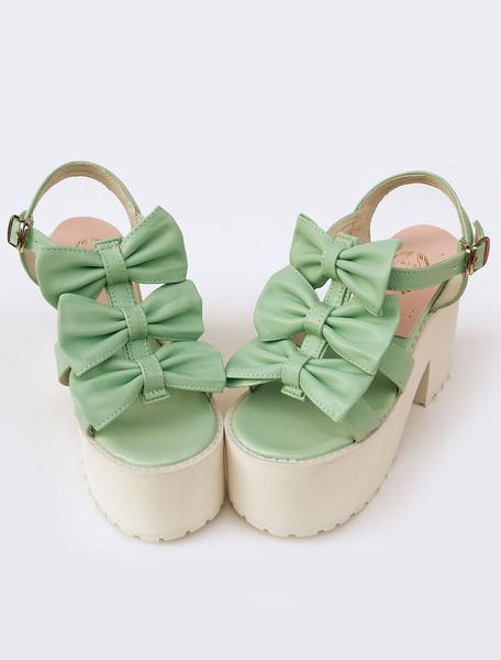 Milanoo Sweet Lolita Shoes Light Green Matte Leather Lolita Plarform Sandals With Bows