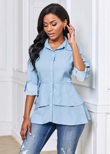Layered Dip Hem Button Up Blouse - XL