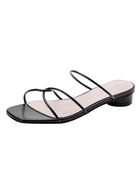 Milanoo Women\'s Sandals Chunky Heel Casual Sandals Slingbacks Peep Toe Black Sandals
