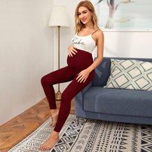 Maternidad leggings de cintura ancha unicolor