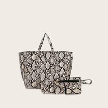 4 paquetes bolsa tote con estampado de piel de serpiente con clutch