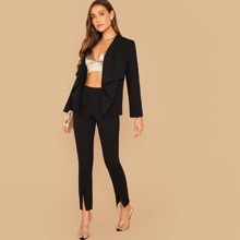 Draped Collar Blazer and Split Hem Pants Set