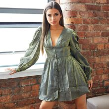 Plunging Neck Wide Waistband Lantern Sleeve Button Up Dress