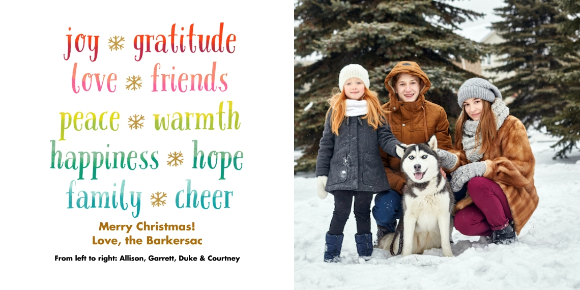 Christmas Photo Cards Flat Glossy Photo Paper Cards with Envelopes, 4x8, Card & Stationery -Well Wishes