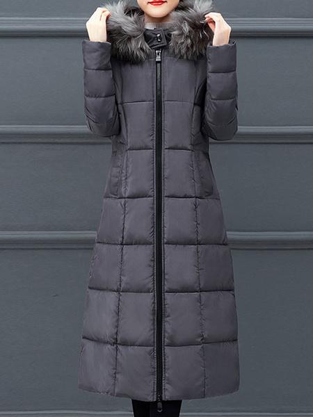Milanoo Abrigos acolchados para mujer Ture Red Larga con capucha Cremallera Manga larga Clasico Espesar Ropa de abrigo de invierno