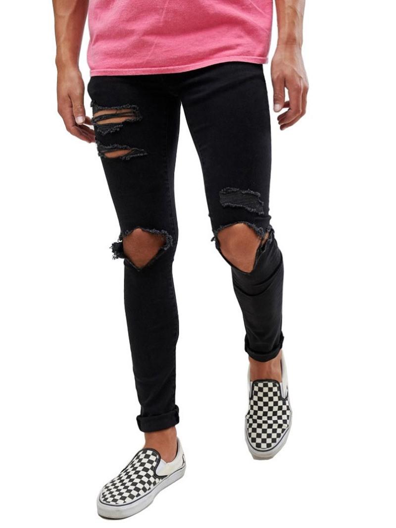 Ericdress Hole Pencil Pants Plain Zipper Mid Waist Men's Jeans