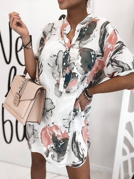 Yoins Ink Print Button Front Stand collar Long sleeves Dress