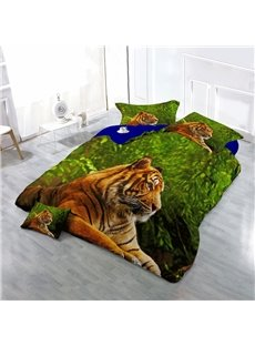 3D Tiger in Green Jungle Wear-resistant Breathable High Quality 60s Cotton 4-Piece 3D Bedding Sets