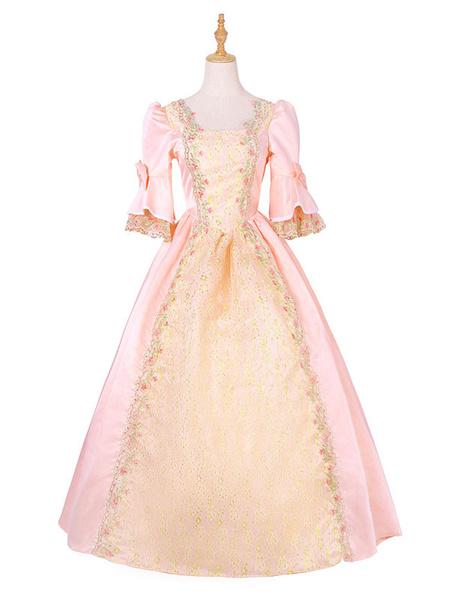 Milanoo Victorian Dress Costume Medieval Renaissance Costume Princess Royal Ball Gown Rapunzel Costume Halloween Yellow Victorian era Clothing Retro C