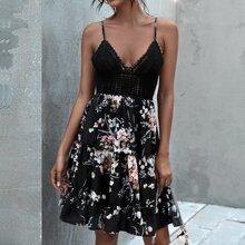 Crochet Bodice Tie Back Tropical Print Combo Dress