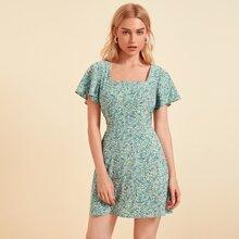 Square Neck Flutter Sleeve Ditsy Floral Dress
