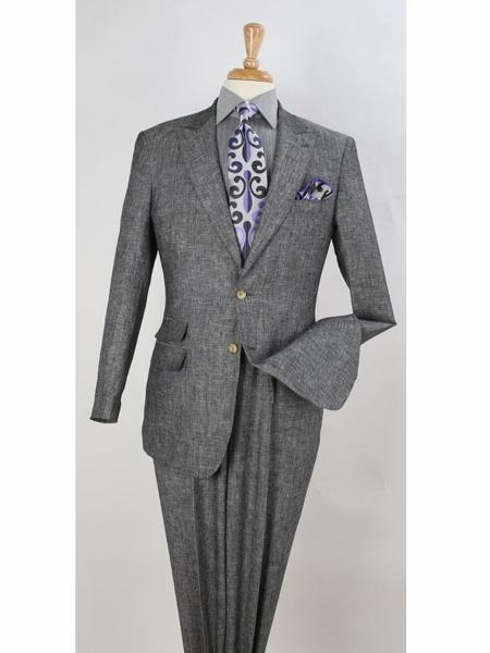 Peak Lapel Pleated Pants Linen Summer Suit Ticket Pocket Regular Fit