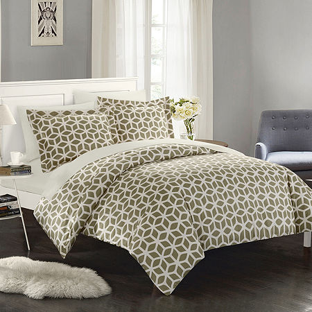 Chic Home Elizabeth Duvet Cover Set, One Size , Brown
