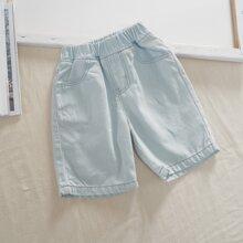 Pantalones denim de niñitos con bolsillo oblicuo de cintura elastica