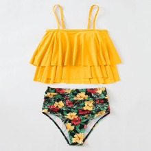 Floral & Tropical Tiered Layer Ruffle Bikini Swimsuit