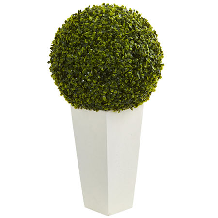 """28"""" Boxwood Topiary Ball Artificial Plant in White Tower Planter (Indoor/Outdoor), One Size , Green"""