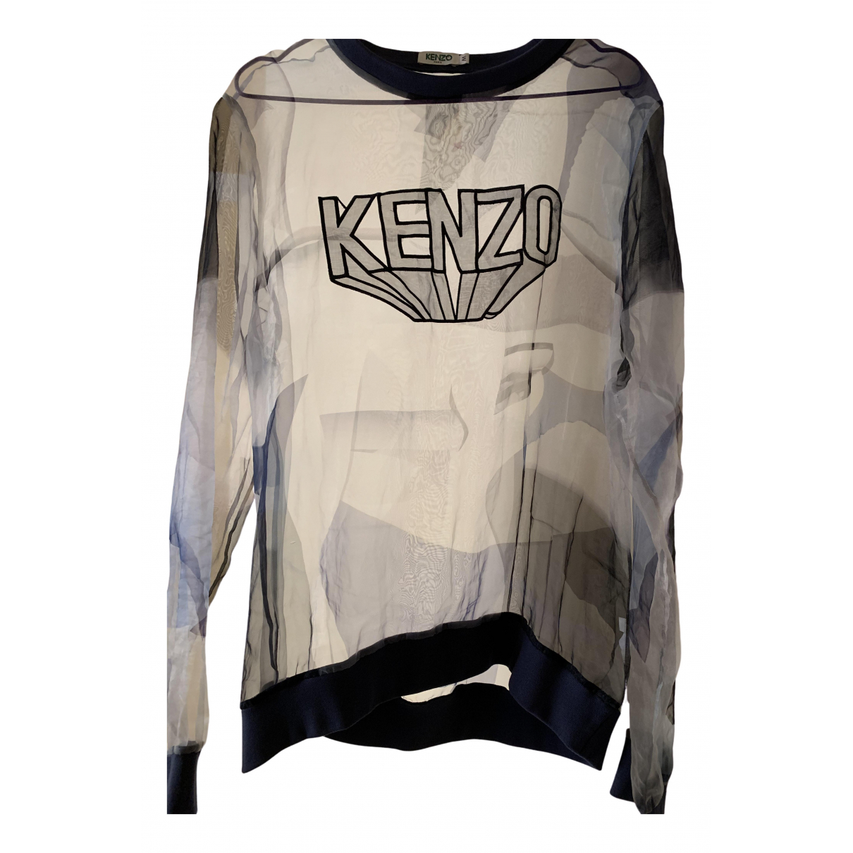 Kenzo - Pull   pour femme en soie - bleu