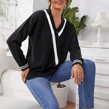 Pullover mit V-Kragen, Kontrast Einsatz und Knopfen Detail
