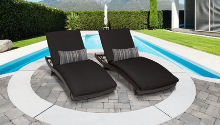 Belle Collection BELLE-CURVED-CHAISE-2x-BLACK Set of 2 Chaises - Wheat and Black