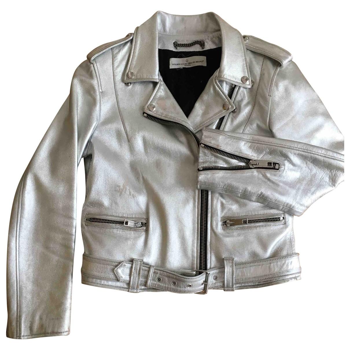 Golden Goose \N Lederjacke in  Silber Leder