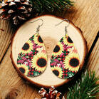 Buffalo Plaid Sunflower Water Drop Earrings