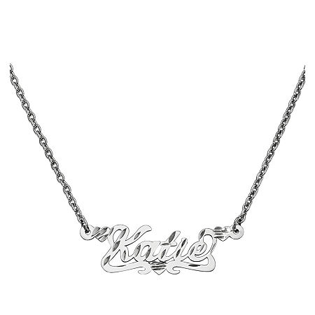 Personalized 13x36mm Diamond-Cut Scroll Name Necklace, One Size , White