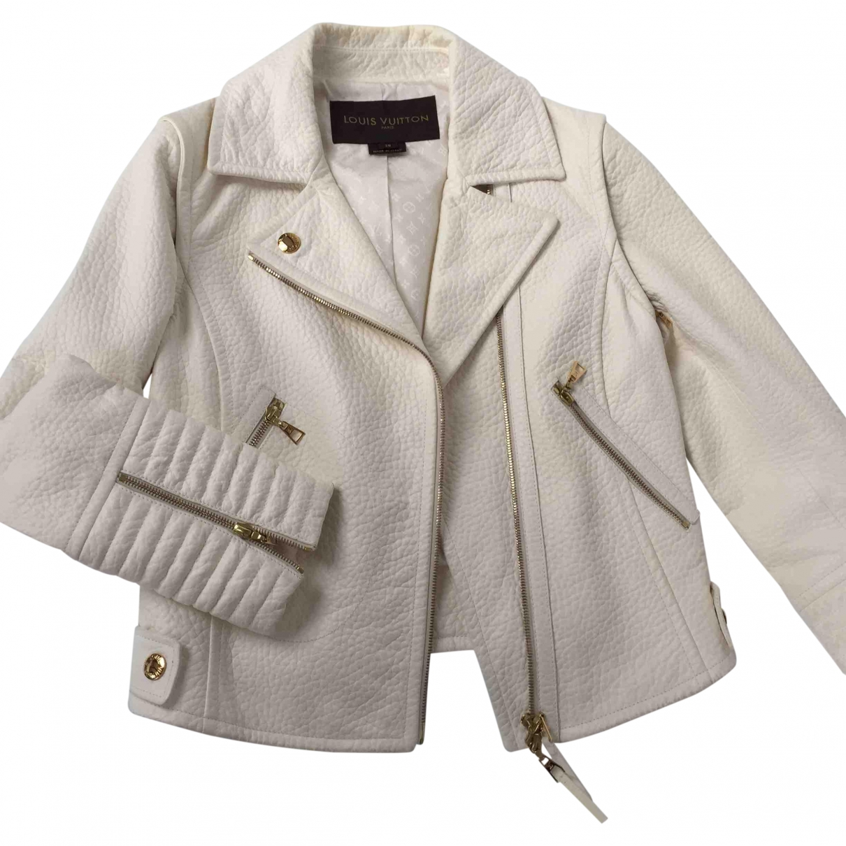 Louis Vuitton \N White Leather Leather jacket for Women 38 FR