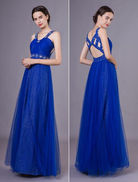 Milanoo Vestidos de fiesta largos Vestidos de noche formal azul real recorte de tul con cuentas de lentejuelas piso-longitud vestidos de baile
