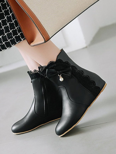 Milanoo Sweet Lolita Boots Bows Lace Round Toe Lolita Footwear Booties