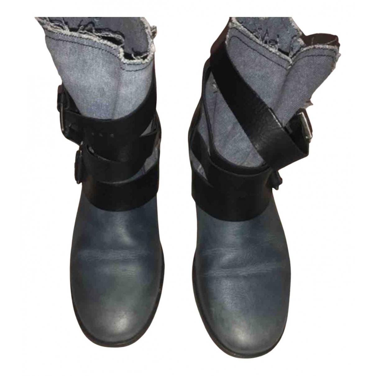 Maje - Boots   pour femme en cuir - bleu