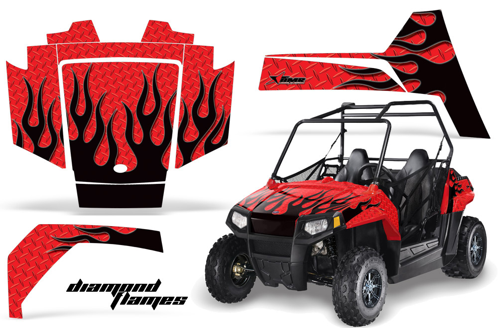 AMR Racing Full Custom UTV Graphics Decal Kit Wrap Diamond Flame Black Polaris RZR 170 Youth 14-18
