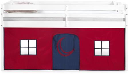 Jasper Collection AJJP00WHATRBL Twin Junior Loft Bed  White Frame and Red/Blue Bottom Playhouse