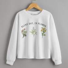 Pullover mit Buchstaben & Blumen Muster und sehr tief angesetzter Schulterpartie