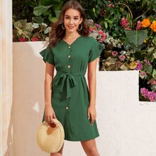 Solid Button Front Belted Tunic Dress