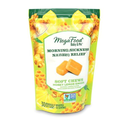 Morning Sickness Nausea Relief Honey Lemon Ginger, 30 Soft Chews by MegaFood