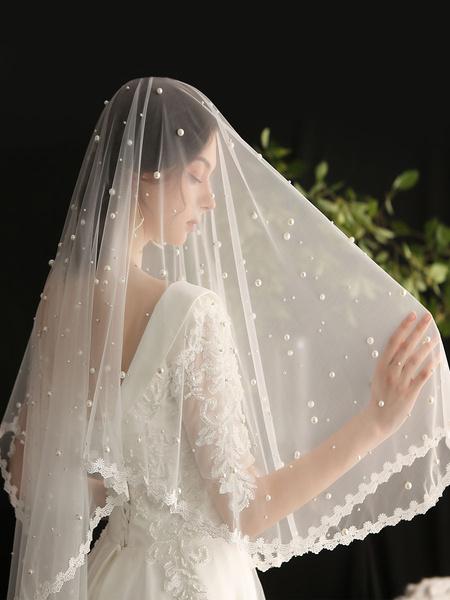 Milanoo Wedding Veils One-Tier Studded Polyester Lace Applique Edge Drop Bridal Veil